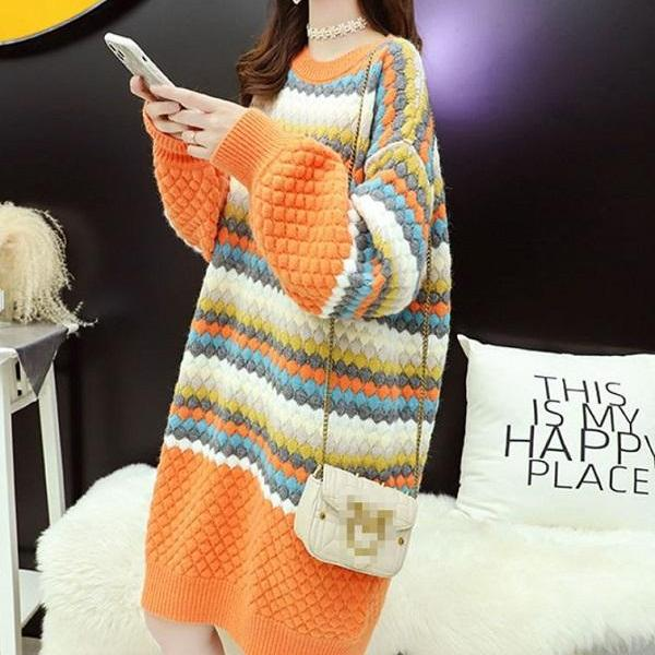 Rsslyn Colorful Knitted Warm Dresses Long Sweaters for Winter