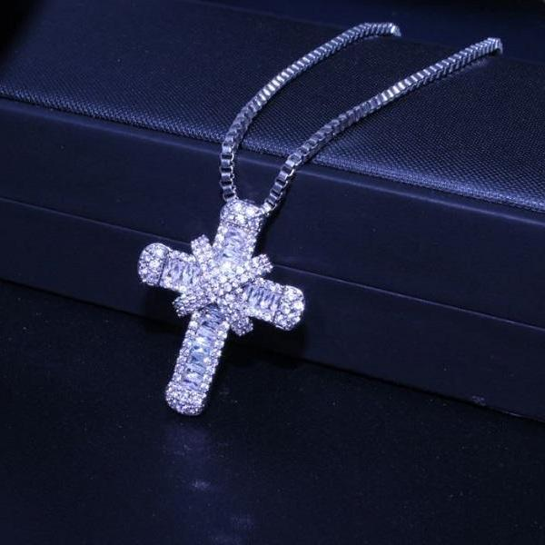 Rsslyn SS925 Necklace Religious Cross Necklaces Silver Plated Necklaces for Women