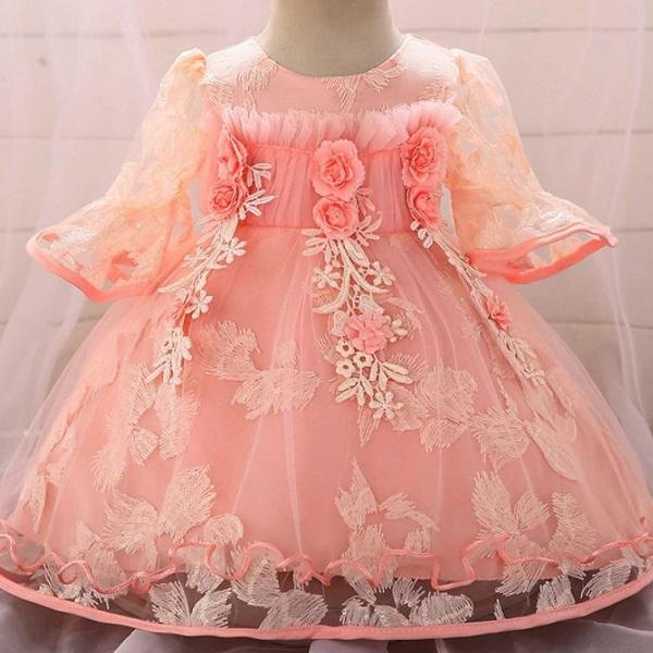 Rsslyn Peach Color Fashion Dresses for Baby Girls Birthday Girls Party Dresses