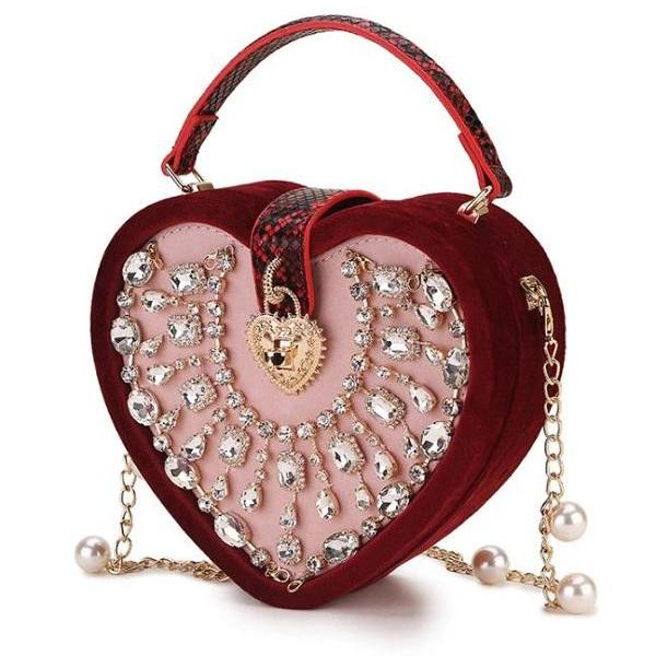 Rsslyn New Fashion Designer Red Evening Bags with Heart Crystals