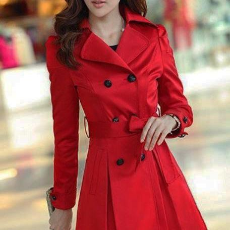 Red Trench Coats with Laces and Bow