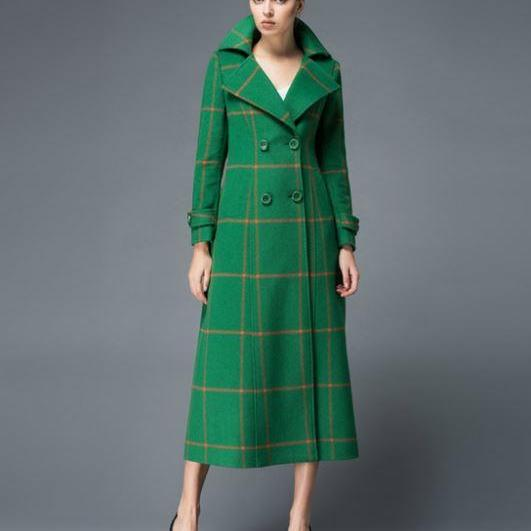 Green Trench Coats Christmas Long Dress Trench Coats Royal Clothing Plaid Wool Coats Woolen Jackets High Quality