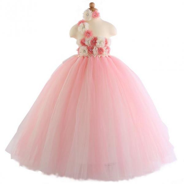 Peach Ivory Tutu Dress for 2T,3T,4T,5T,6T Wedding Tutu Dress