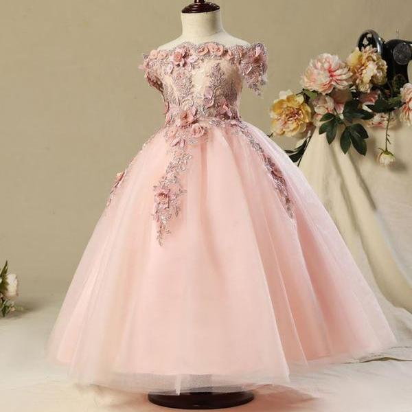 Girls Formal Wear High Quality Heavy Embroidery Flower Girls Pageant Pink Dress