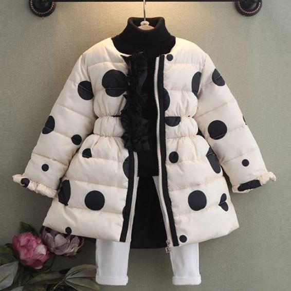 White Polka Dots Winter Coats for Girls 3T Winter Coats with Hood Cotton Duck Down Skiing Parkas