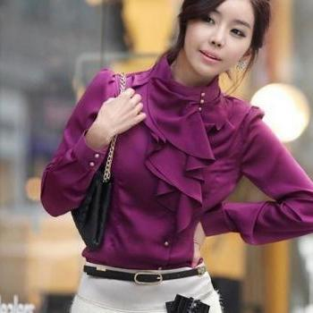 PURPLE SILK Casual Blouse Ruffles Blouses for Women Work,Offices