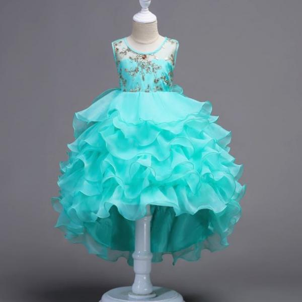 Ready to Ship Blue Formal Dress for Girls 3T Wedding Dress Asymmetrical Free Ship Girls Dress