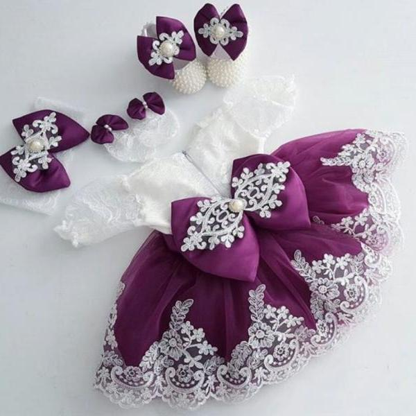 READY TO SHIP Luxury Christening Purple Dress for Little Princesses with FREE Bow Headband
