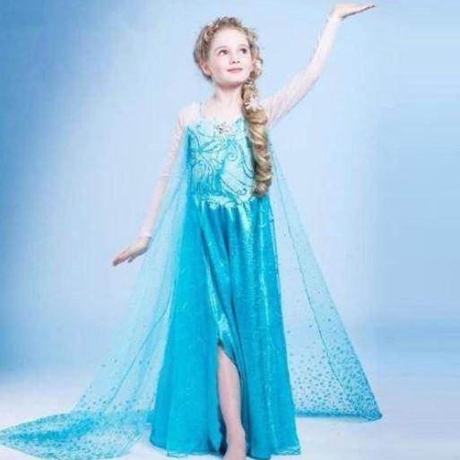 Princess Elsa Dress Ready To Ship for 5/6T Year old Little Girls Midcalf Ankle Length Dress
