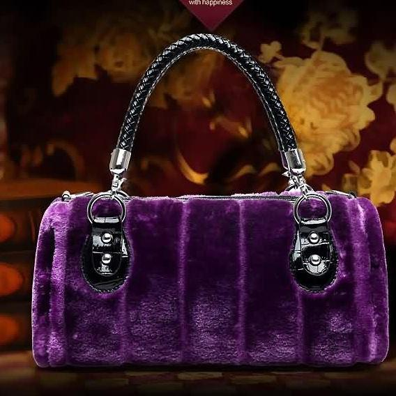 RSS Boutique Purple Bags for Women Velvet Texture Rabbit Faux Fur Ready for Shipping