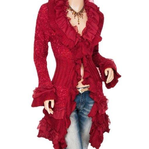Sweet Red Cardigan Ruffled Collar Long Sleeve Fall Cardigan for Women Ready for Shipping