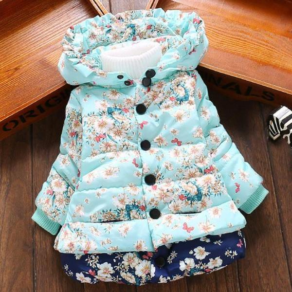 Girls Parka Floral Jacket for Girls 2t,3t,4t, Winter Coats Hooded Printed Floral Fall Season Outerwear