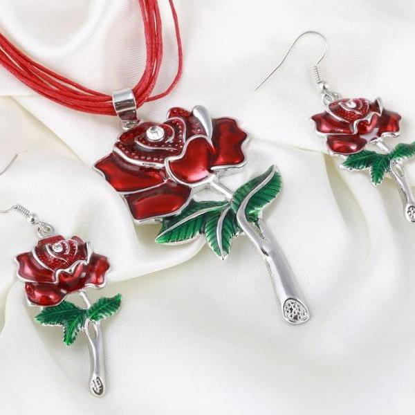 RSS Boutique Earrings for Women Necklace for Women Red Rose Leather Jewelry Set