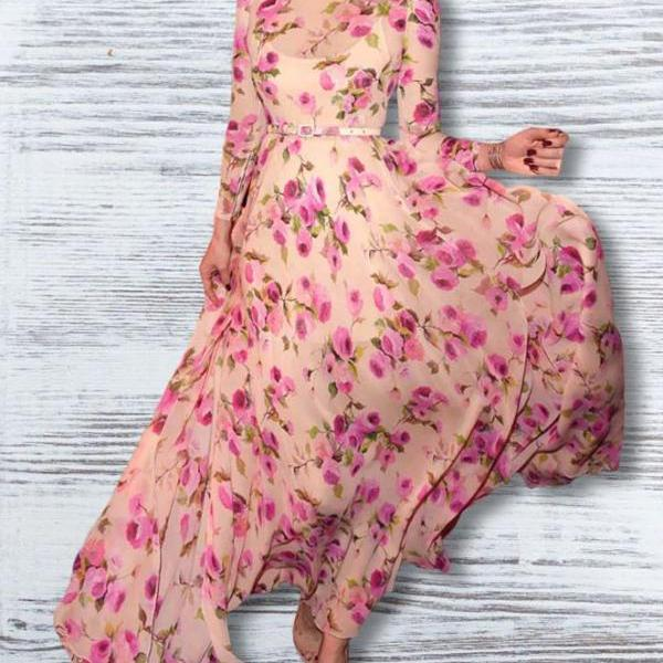Beautiful Pink Maxi Dress for Women Side Slits Floral Summer Dresses for Women