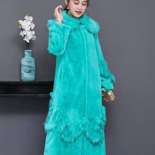 Bright Turquoise Blue Dress Coats Warm and Cozy Dress Coats Luxury Faux Fur Long Overcoats for Women