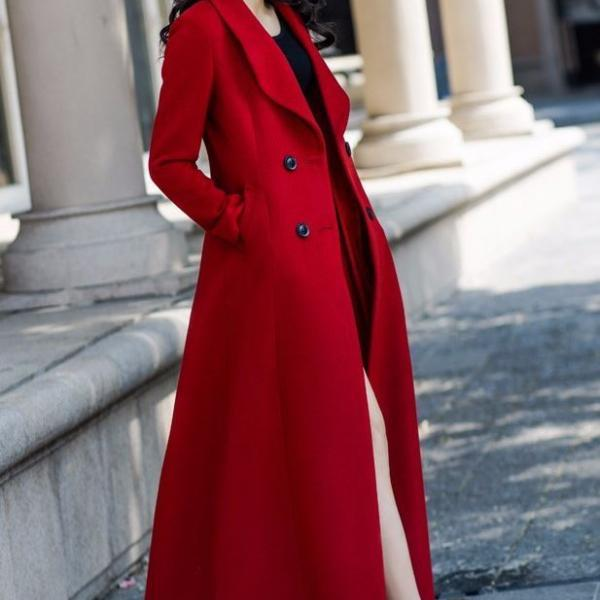 Red Trench Coats Woolen Material Long Dress Red Dress Coats Winter Coats for Women Red Big lapel Red Jackets