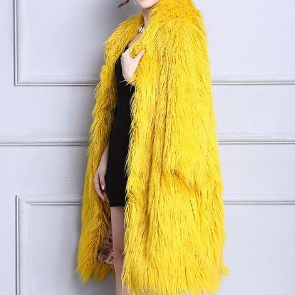 S-5XL Thicker Yellow Overcoats for Women Faux Lamb Fur Coats for Women-Birthday Gift for Wife-Bright Yellow Trench Coats