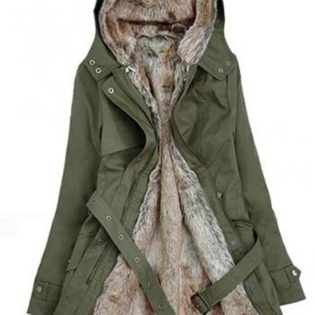 Green Winter Jacket with Faux Fur Lining for Women-Green Faux Fur Jacket Winter Jacket for Women