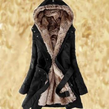 Black Parka Jacket L,M,XL,2XL with Faux Fur Lining for Women-Black Faux Fur Jacket Winter jacket for Women