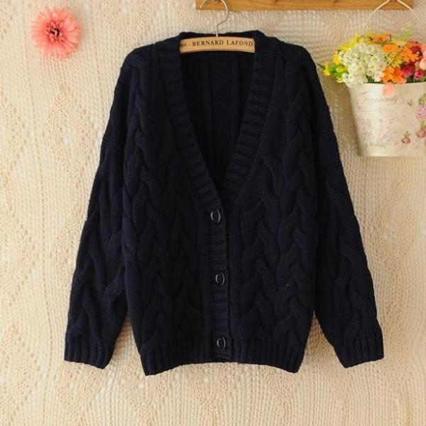 Navy Blue Sweater for Women-Stripe Thick Sweaters for Women Blue Cardigan