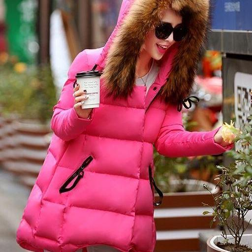 Pink Parkas for Teens and Women Down Parkas Fashion Pink Parkas White Filling