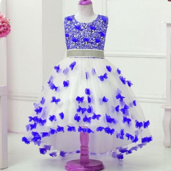 navy blue tutu dress pageant birthday party outfit floating butterflies dress for toddler girls