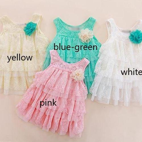 Free Shipping Lacy Tunic Dress Mintgreen Dress for Girls with Matching Baby Headband