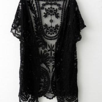 READY TO SHIP Lace Cardigan Bolero Shrug Black Lace Crochet Short Sleeve Cardigan