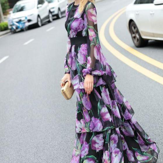 Printed Tulip Flower Purple Floral Dress for Women High Quality Maxi Dress Beautiful Purple Dress
