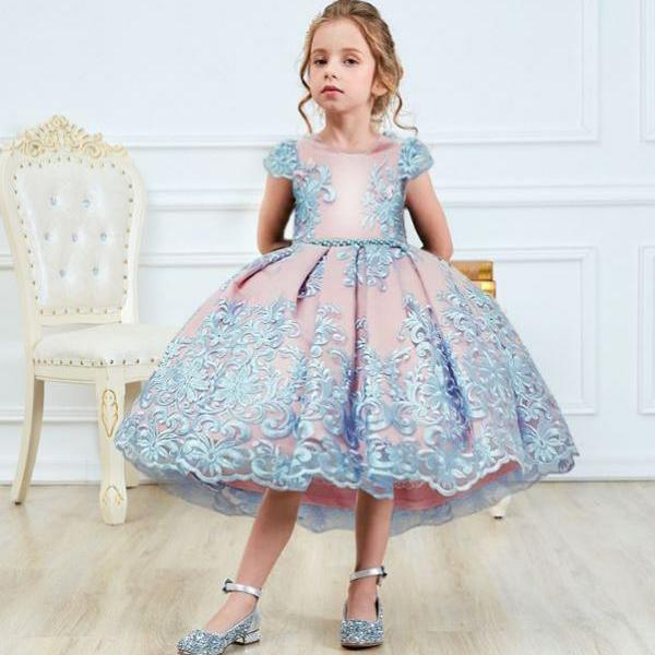 Quinceanera Dresses for Tween Girls Blue Dress Embroidery Laced Gowns for Little Princesses with Silver Tiara