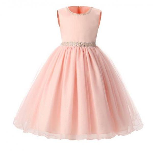 Infant Girls Cute Lace Tutu Dress Pink Peach Dress with Laces, Flowers and Bows