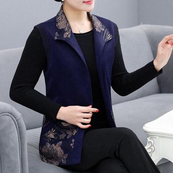 Spring and Fall Floral Navy Blue Vest for Women Button Up Winter Vest for Women