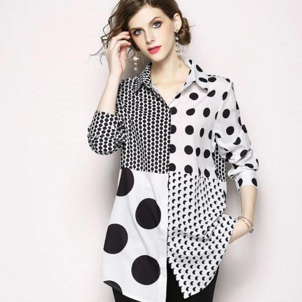 White Tunic for Women Big Dots and Small Dots Design FREE SHIPPING Polka Dots Blouse for Women