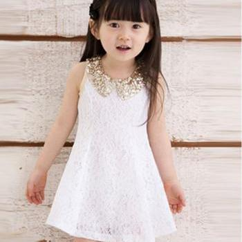WHITE Dress for Little Girls with Golden Peter Pan Collar-Birthday Wedding Party Outfit Dress