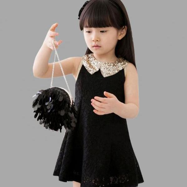 White Lace Dress Golden Collar with FREE Golden Bow Headband for Girls