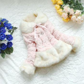Ready to Ship Pink Super Soft Faux Fur Winter Coat for Girls with Buttons
