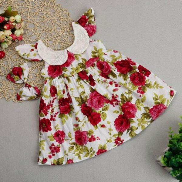 Sleeveless Cotton Red Dress Printed Roses Spring Dresses for Infant Girls with Headband Peter pan Collar New Baby Dresses
