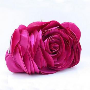 Big Rose Clutch-Pink Big Rose Shoulder Bags Evening Clutch