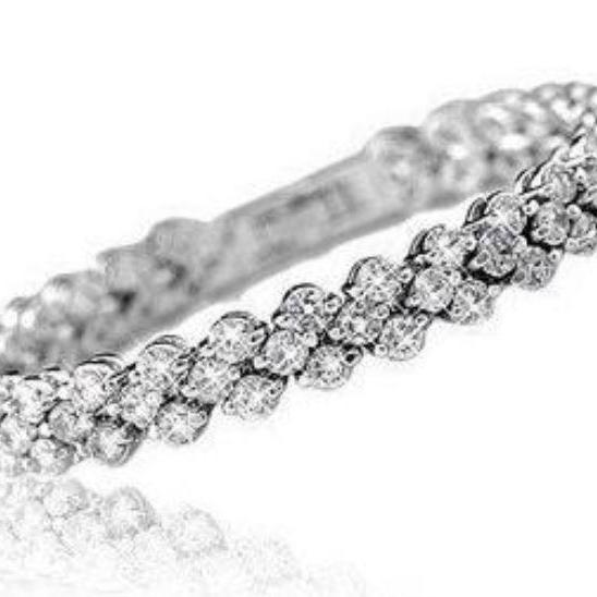 Full Star Super Shiny Crystal 925 Sterling Silver Bracelets Rolo Chain