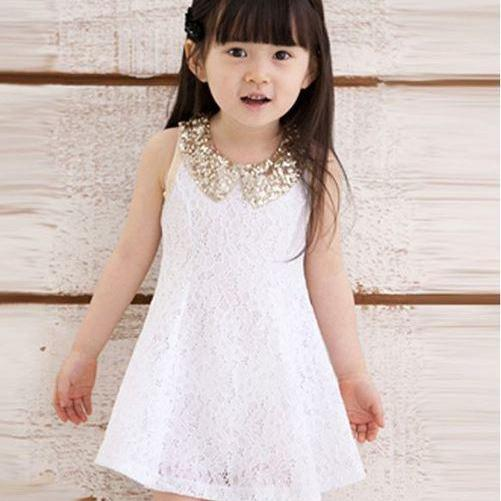 Golden Sequined Collar 2t White Dress Classic Dress for Flower Girls-Wedding Dress for Flower Girls