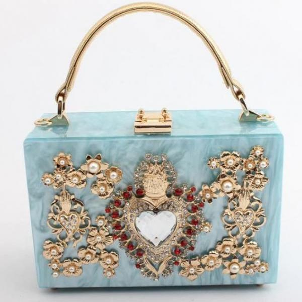 The Big Heart of Princess Elsa Bags Blue Box Shoulder Bags Hard Case Roomy and Trendy Handbags