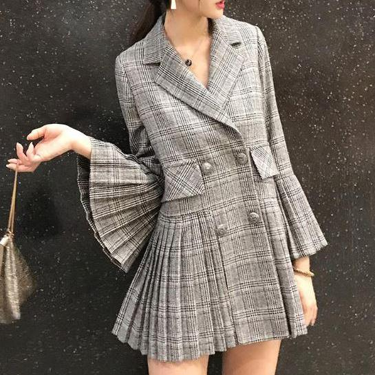 Ready to Ship Houndstooth Blazers for Women Pleated Gray Blazers High Quality Plaid Jackets for Women
