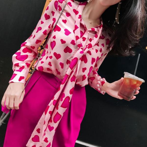 red blouse heart pattern is ready for shipping hotpink blouses for women long bowtie