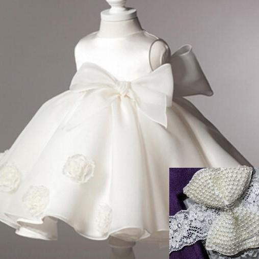 Newborn Girls Christening Gowns Off White Dress for Newborn Girls Baptism Gowns Baptism Dress Big Bows Front and Back FREE Headband Bow
