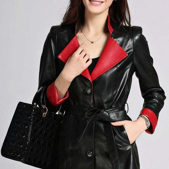 Genuine Leather Overcoat Winter Sheepskin Long Slim Red Jackets