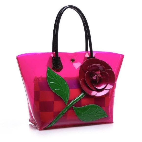 Fashion Bags Pink Beach Bags Floral Transparent Totes PVC Plastic Totes Handbags for Women