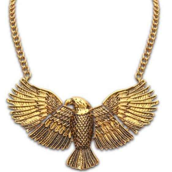 Golden Tone American Eagle Necklace-Unisex Necklace for both Men and Women