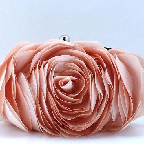 Floral Clutch Peach Purse Peach Shoulder Bags Evening Purse for Women is Ready for Shipping