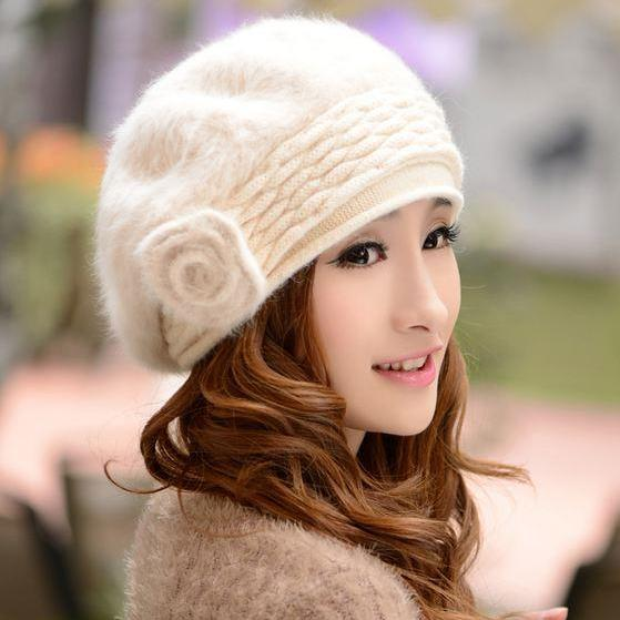 Off White Beret Winter Hats for Women White Rabbit Hair Wool Beret Teen Girls White Hats