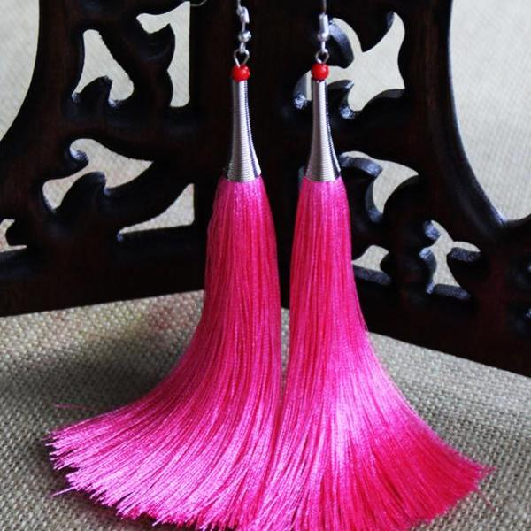 Pink Earrings Vintage Long Silk Thread Tassels Eardrop Fashion Ear Ornaments